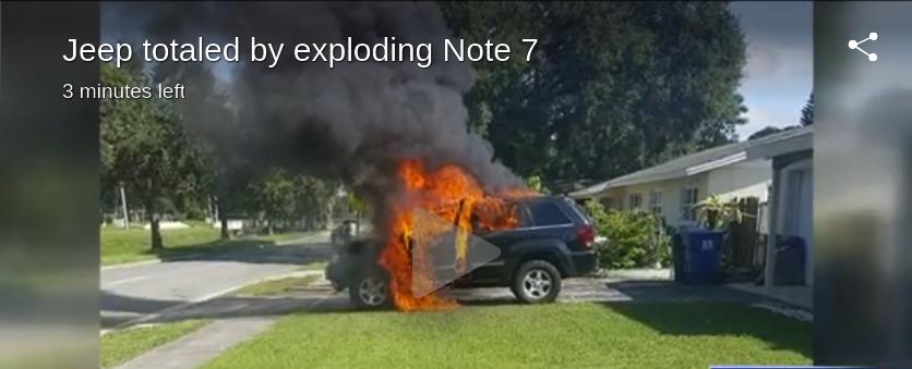 Jeep in fiamme per l'esplosione della batteria del Galaxy Note 7