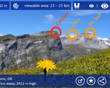 App per riconoscere montagne per Windows Phone: TouchMountain